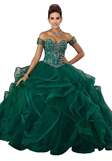 Lace Ruffles Ball Gowns Off Shoulder Sequins Beaded Applique