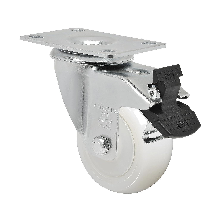 Bolt Holes 3 x 1-3//4 Bolt Holes 3 x 1-3//4 3 x 1-1//4 Swivel Caster with Total Lock Brake Plate 3-3//4 x 2-1//2 325 lbs 3 x 1-1//4 Swivel Caster with Total Lock Brake Plate 3-3//4 x 2-1//2 Non-Marking Nylon Wheel Schioppa L12 Series GLA 312 NT G
