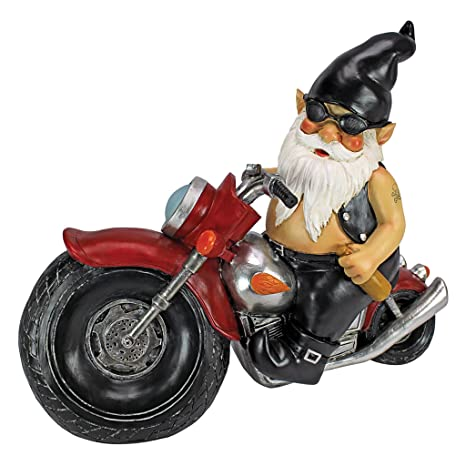 Delightful Design Toscano Axle Grease The Biker Garden Gnome Motorcycle Statue, 13  Inch, Polyresin,