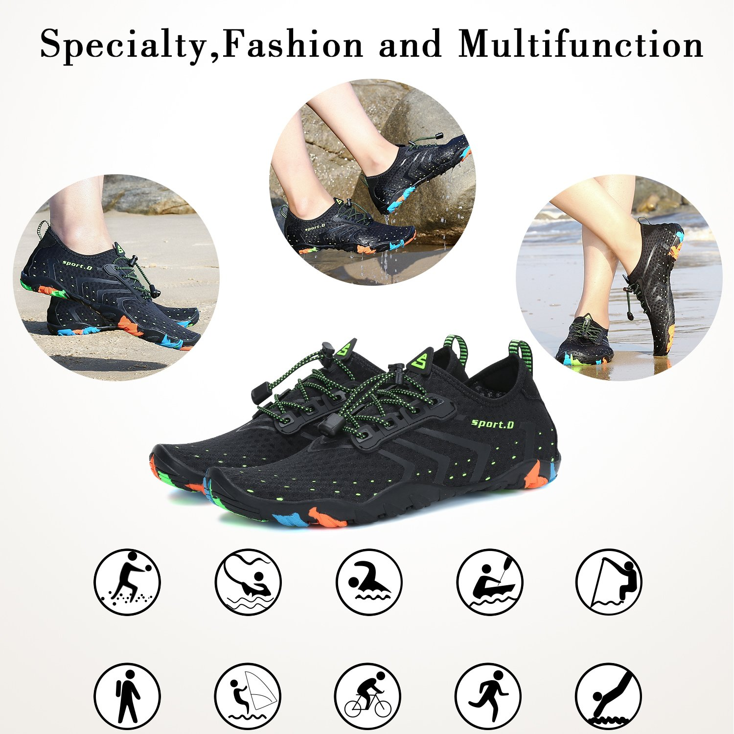 SAGUARO Mens Womens Breathable Quick Drying Water Shoes Beach Swimming Pool Surfing Kayak Jogging