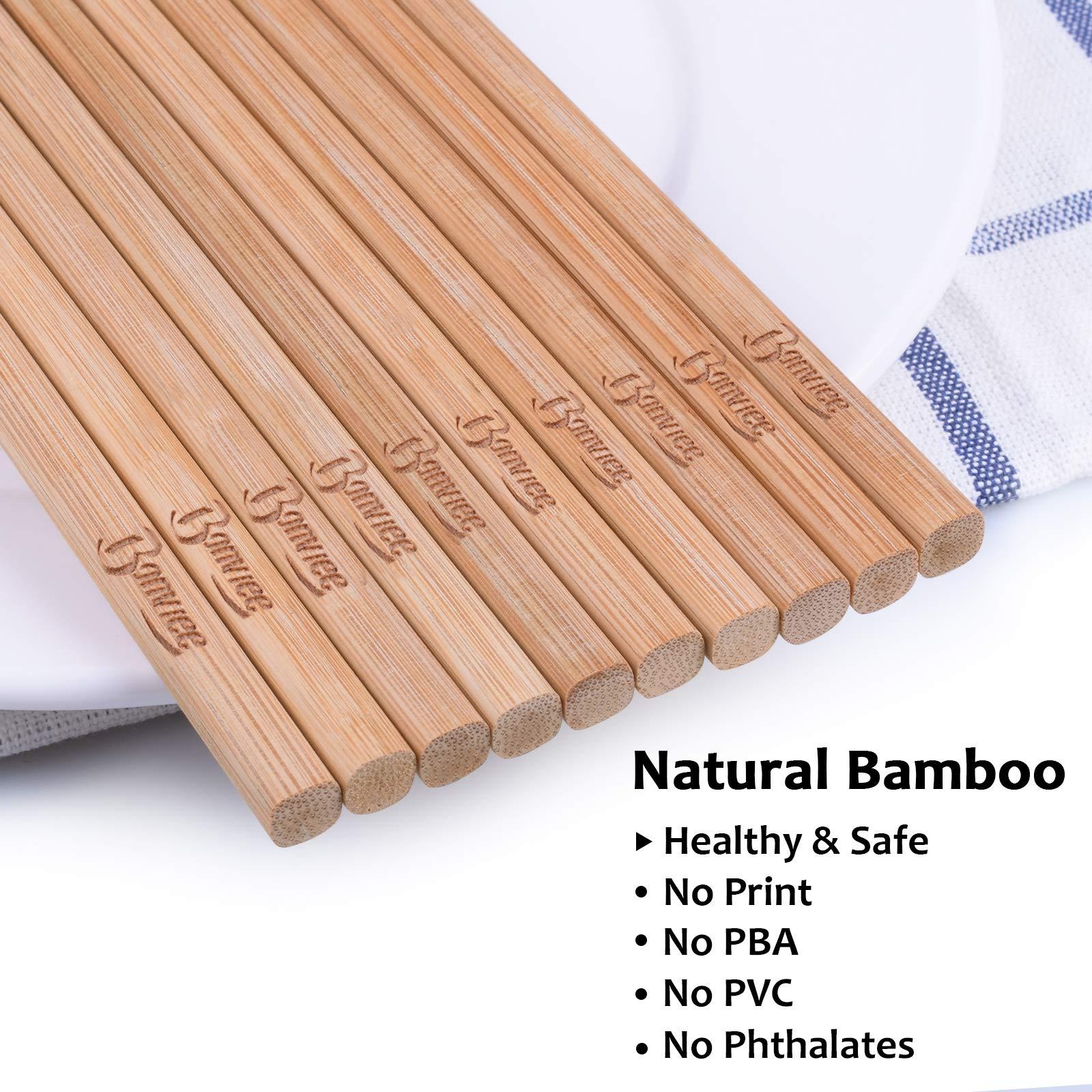 Bonviee Bamboo Chopsticks Reusable Japanese Chopsticks Set 9.45\