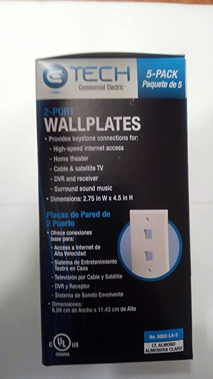 CE-E Tech QuickPort Wall Plate (2 port; Light Almond 5002-LA-5) 5 Pack - - Amazon.com