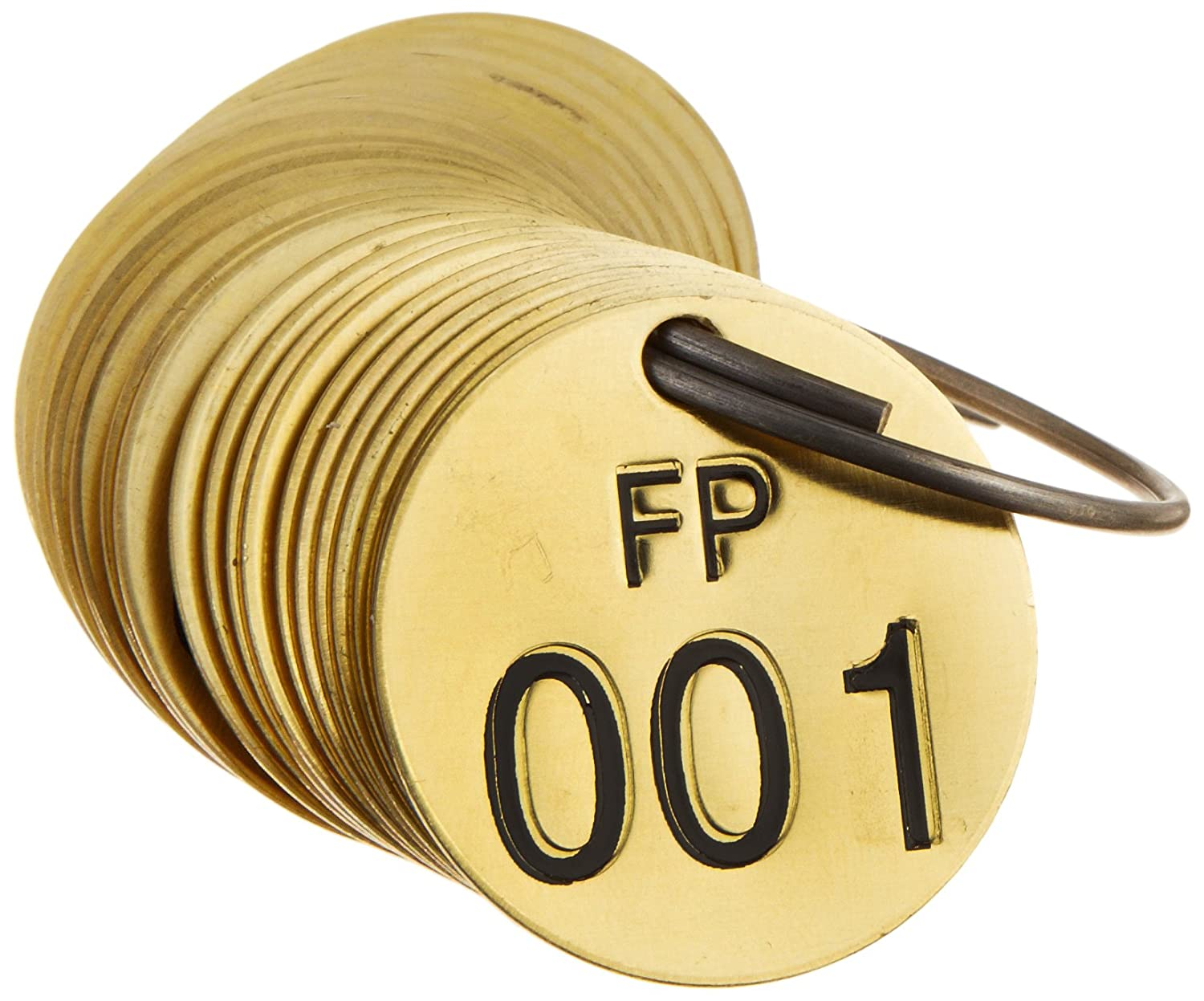 LegendFP Numbers 001-025 Brady 236671 1//2 Diameter Stamped Brass Valve Tags LegendFP 25 per Package 25 per Package