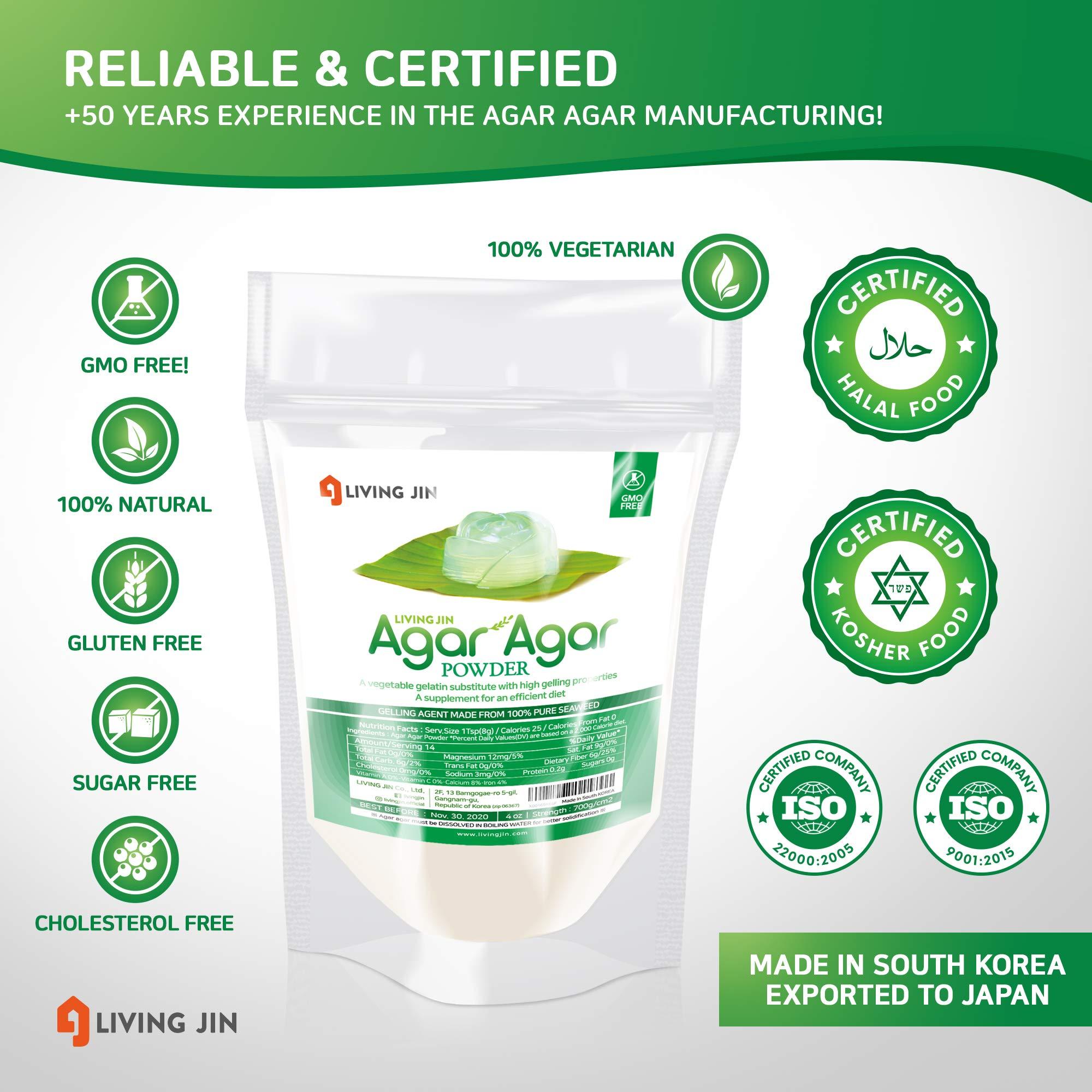 LIVING JIN Agar Agar Powder 12oz (or 4oz | 28oz) : Vegetable Gelatin Powder Dietary Fiber [100% Natural Seaweed + Non GMO + VEGAN + VEGETARIAN + KOSHER + HALAL] by LIVING JIN (Image #4)