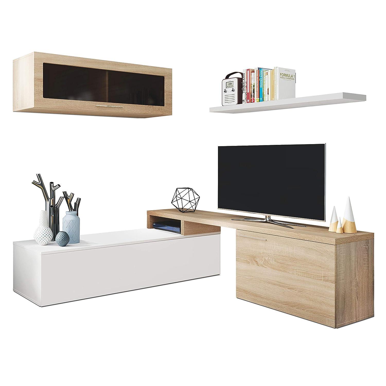 Habitdesign 016667F-Mueble de salón Comedor Moderno, Medidas Alto (Blanco Brillo Canadian), Roble, 200x41/34x43 cm