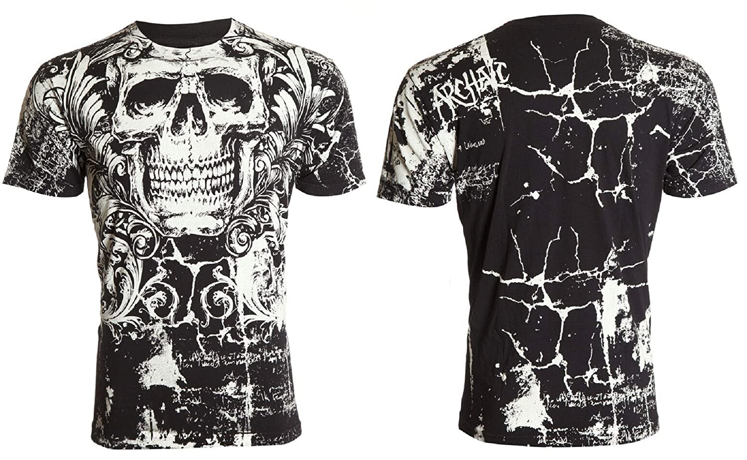 Affliction/  Archaic Mens T-Shirt KILLROY Skull Black Motorcycle Biker UFC