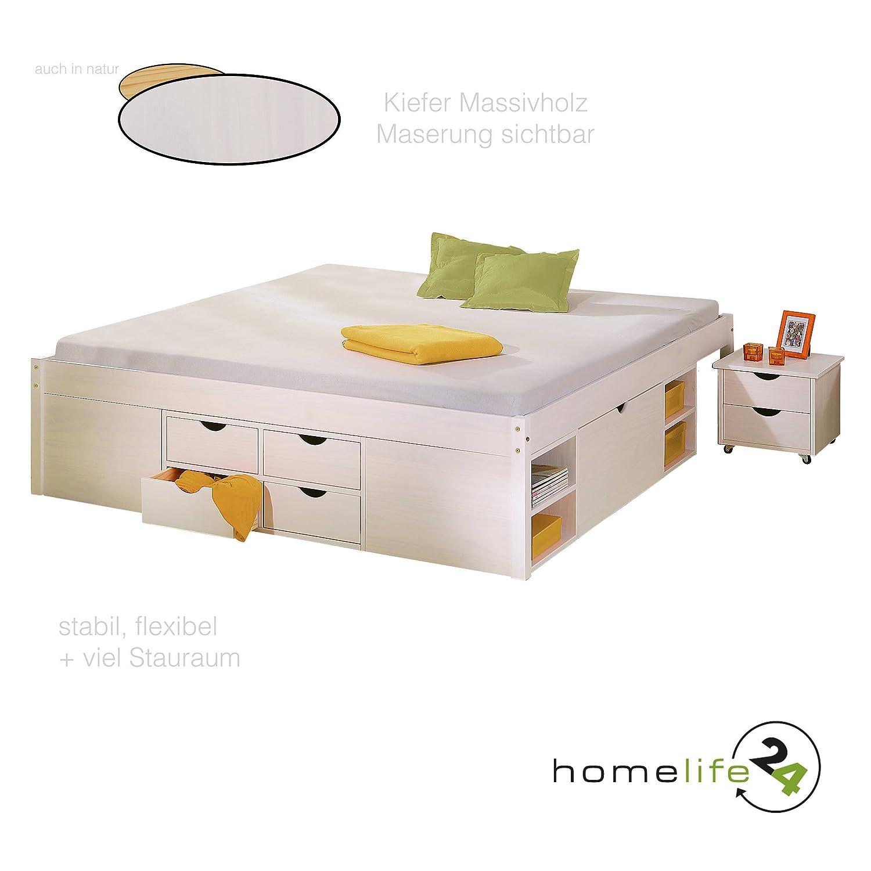 H24living Schönes Doppelbett 180 x 200cm ohne Lattenrost weiss ...