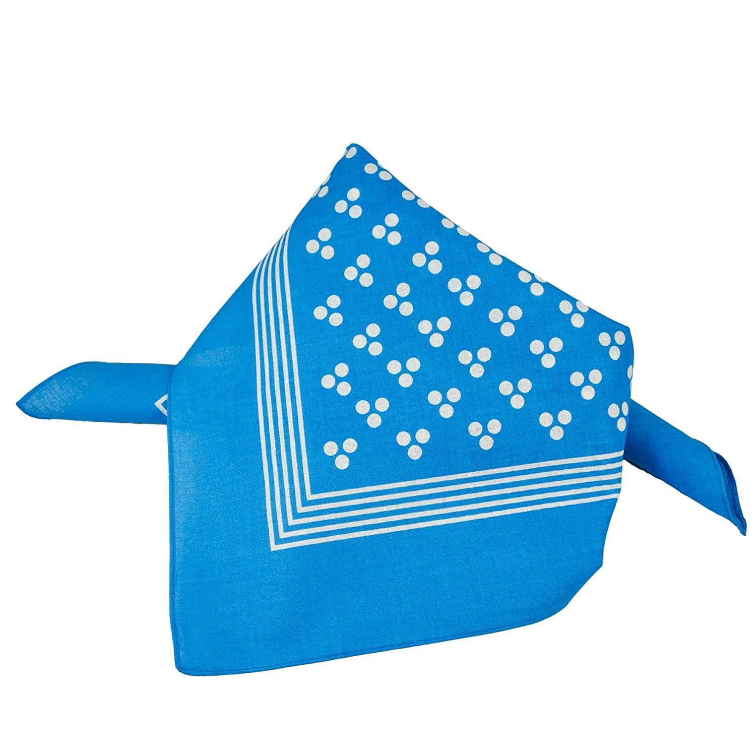 Blue With White 3-Dot & Stripes Bandana Neckerchief Ties Planet