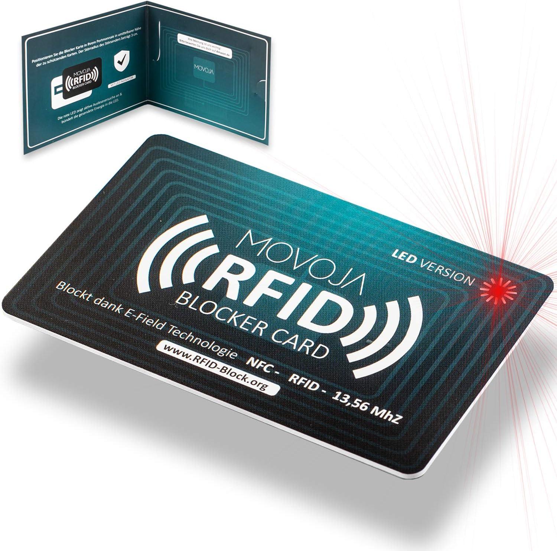 Tarjeta bloqueadora de RFID con tecnología de indicador LED   última tecnología interferente   marca alemana   sin radiación residual   100% de protección gracias a E-Field   no más fundas protectoras: Amazon.es: Equipaje