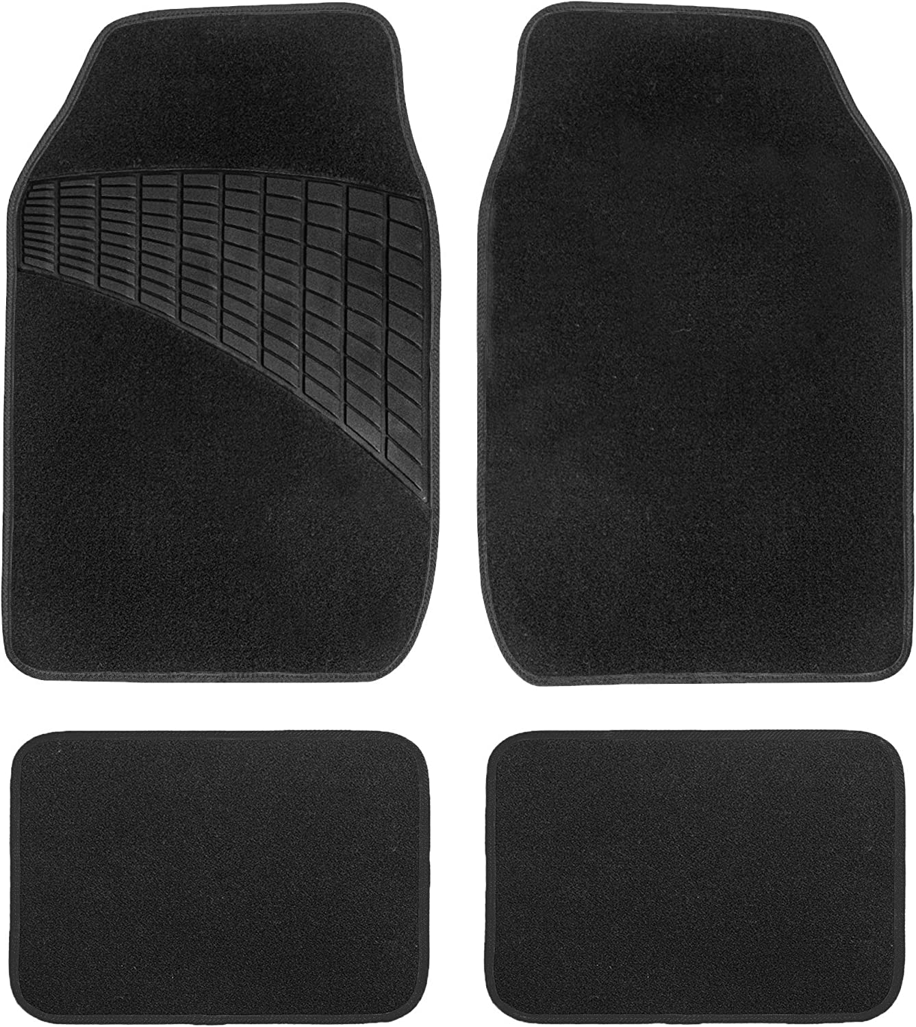 Color-Trimmed Liners Non-Slip Car Floor Mats with Rubber Heel Pad Full Set