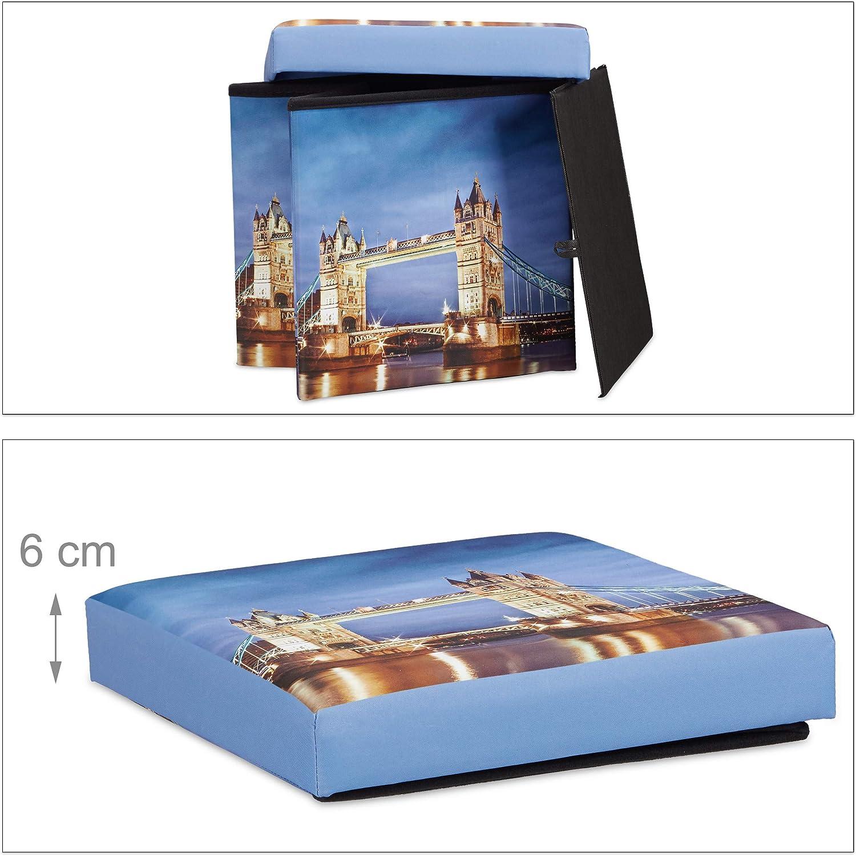 38 x 38 x 38 cm colorato Relaxdays Pouf Luminoso cubo Contenitore al LED Motivo Big Ben Sgabello Pieghevole HLP