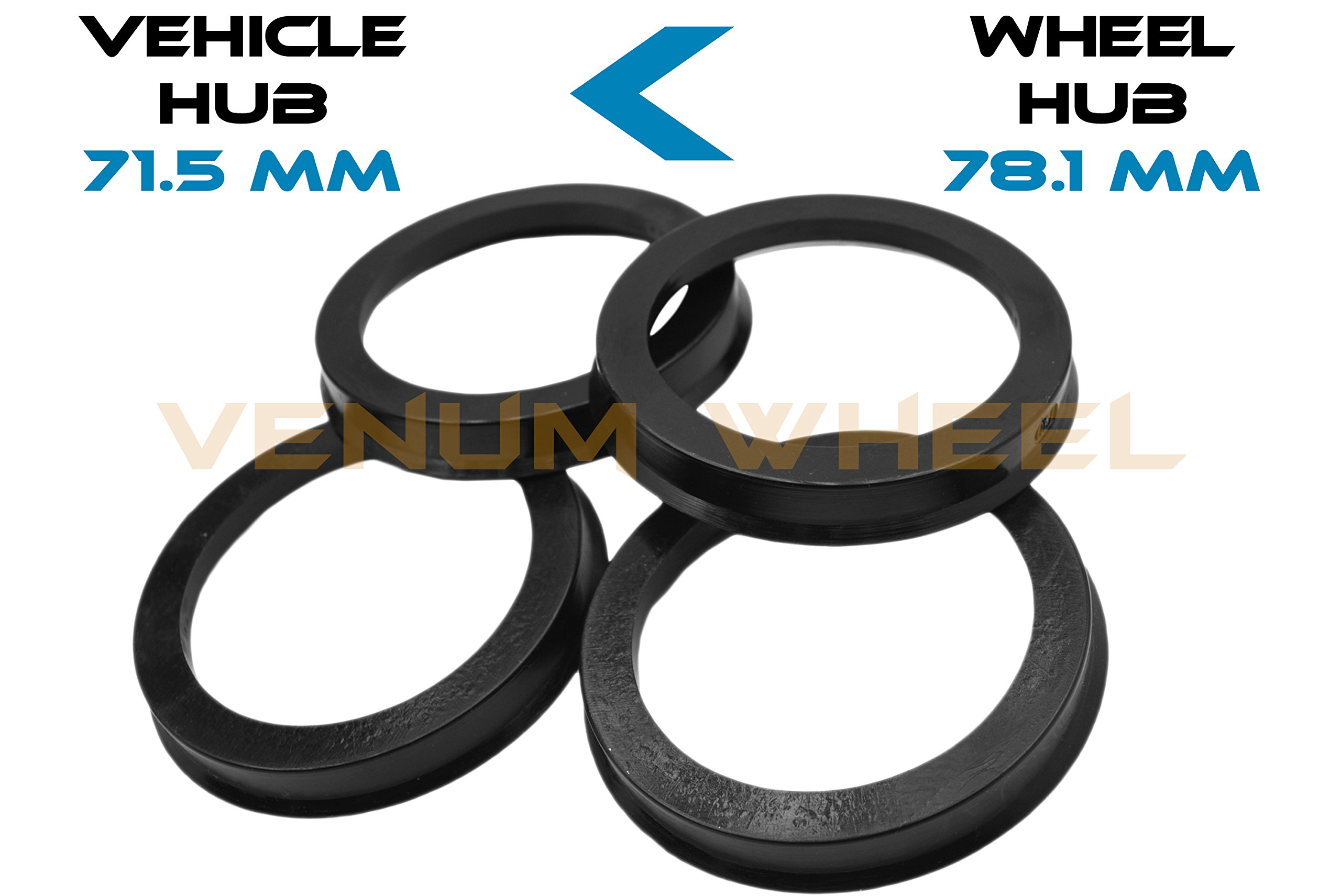 4 Hub Centric Rings 71.5 ID To 78.1 OD Black Polycarbonate Material ( Vehicle 71.5mm to Wheel 78.1mm)