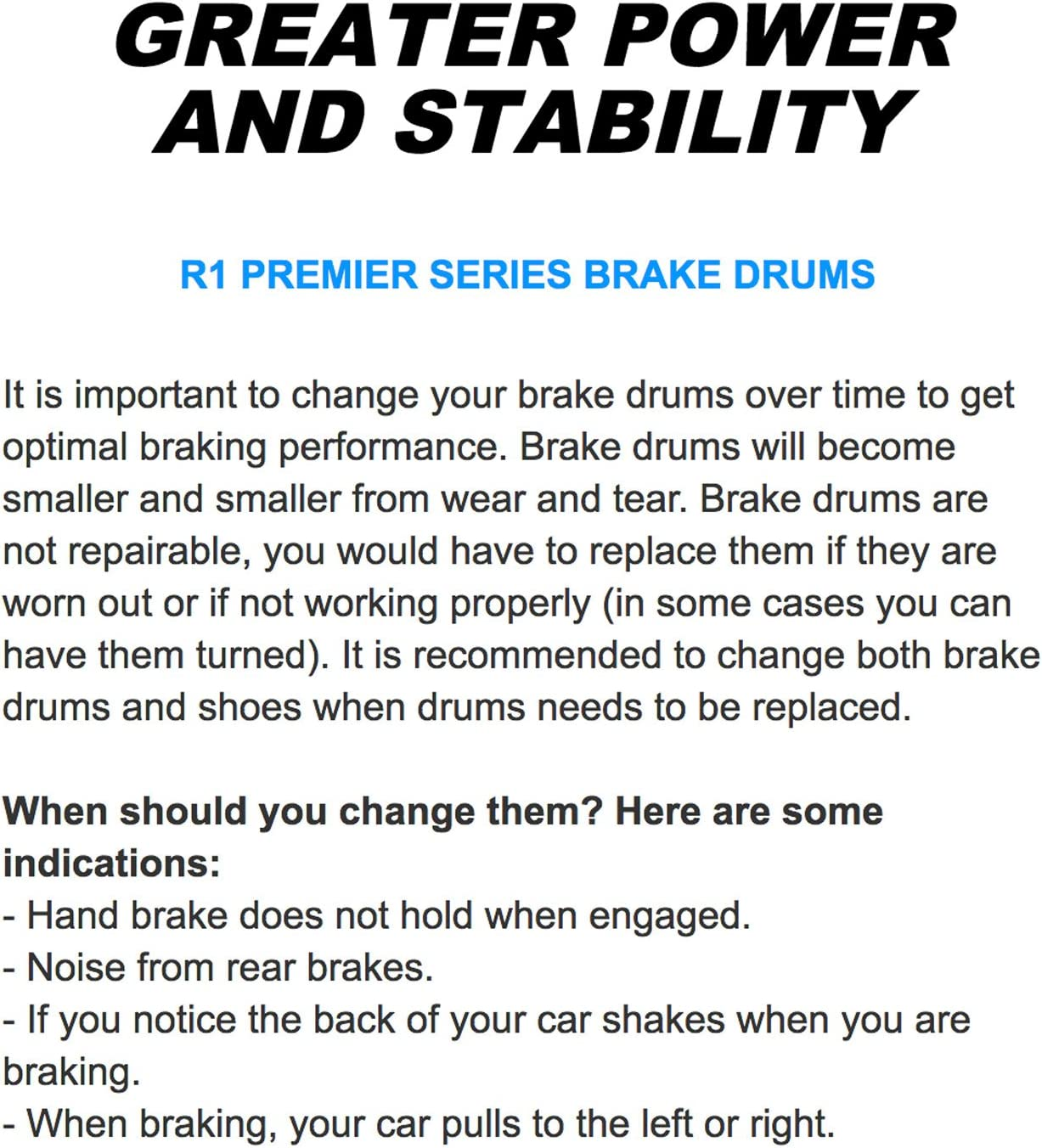 Pair DR-37003 R1 Concepts Rear Brake Drums