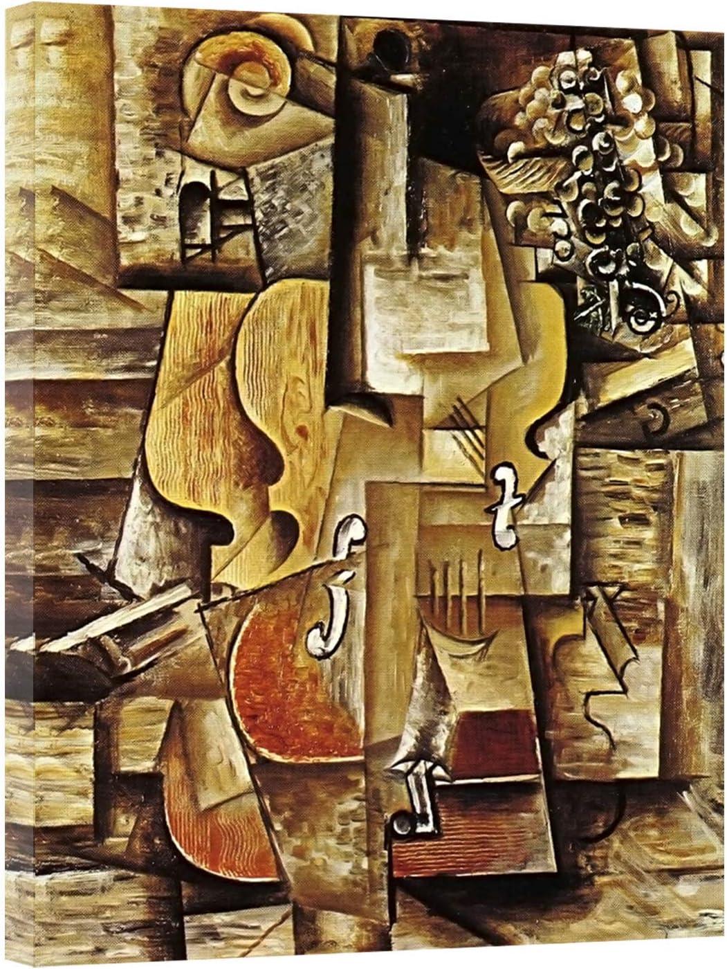 Cuadro en lienzo Pintura de violín y uva de Pablo Picasso Impresión en lienzo Arte de la pared Decoración Imagen 30x40cm (11.8x15.7 pulgadas) Con marco