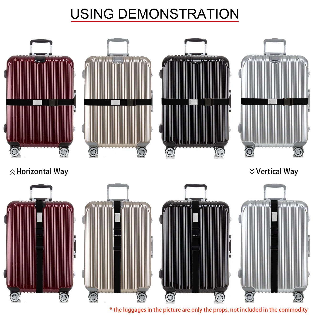 TRANVERS Luggage Strap For Suitcase Baggage Belt Travel Luggage Accessory 1-Pack Black by TRANVERS (Image #3)