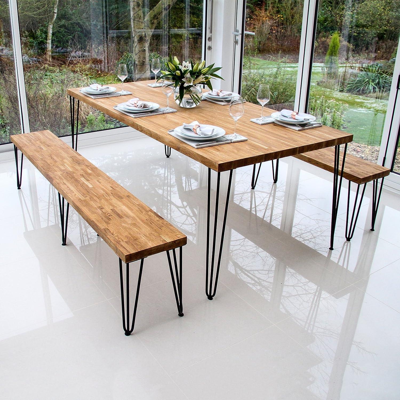 4 Pieds Table en Épingle à Cheveux SkiSki Legs 71cm Acier Naturel 2 Tiges 12mm