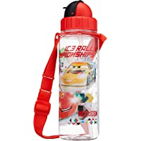 Disney Cars - BPA-Free Tritan Bottle with Straw and Safety Release Strap, 450ml, Red (Ice Rally Championships)