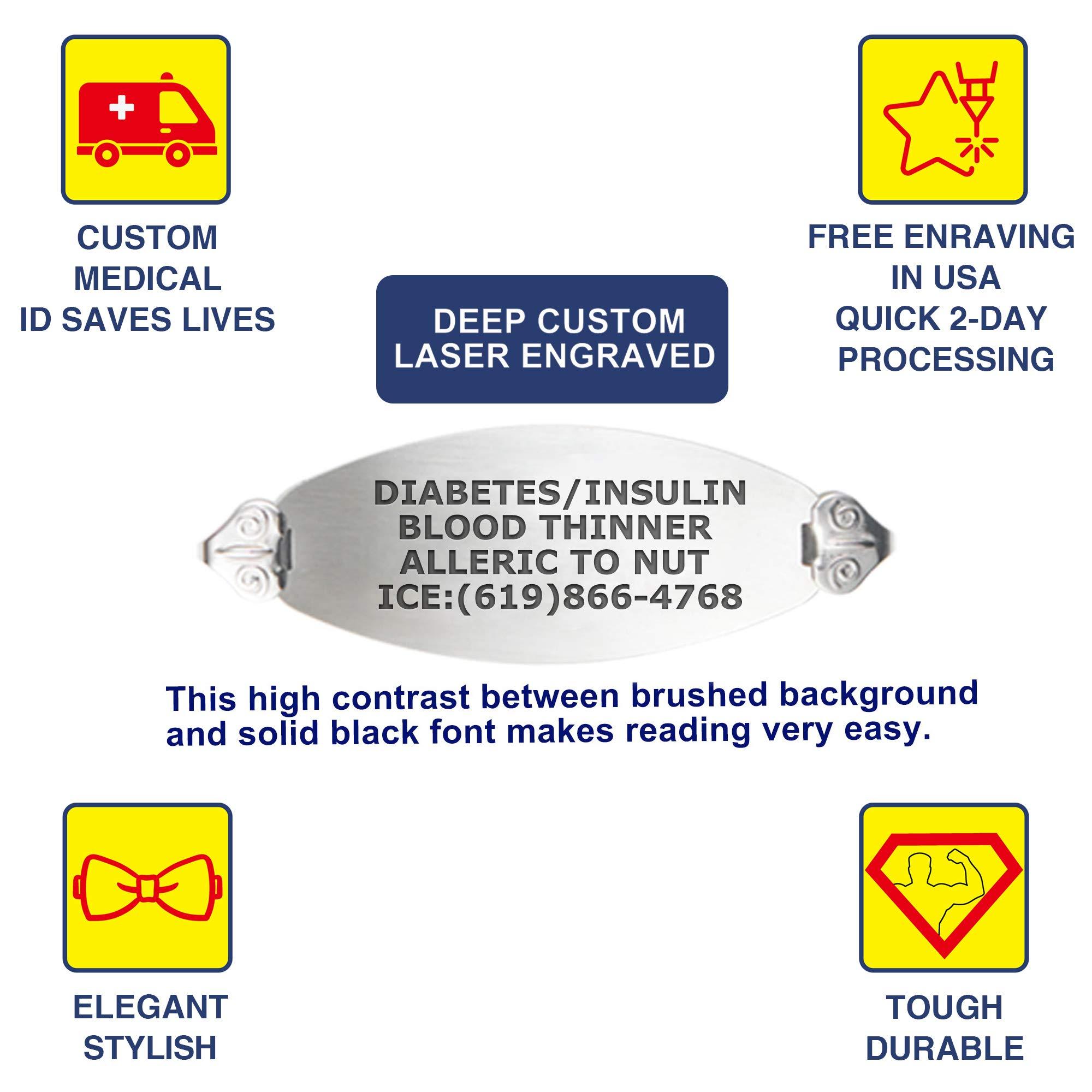 Divoti Custom Engraved Medical Alert Bracelets for Women, Stainless Steel Medical Bracelet, Medical ID Bracelet w/Free Engraving - Lovely Filigree Tag w/Heart Link -White-6.5'' by Divoti (Image #2)