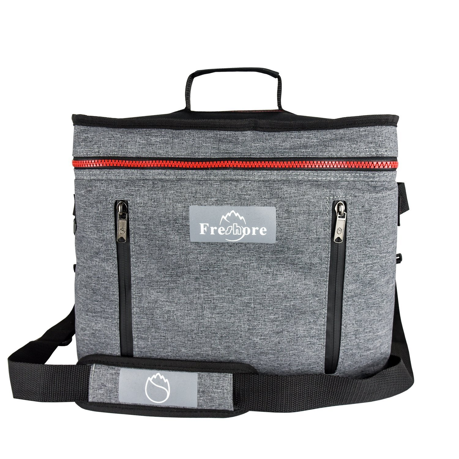 Freshore Collapsible Travel Large Portable Insulated Folding Cooler Compartment Thermal Bag - Meal Prep Big Lunch Box Backpack Picnic Car Tote With Adjustable Strap (Dark Grey)