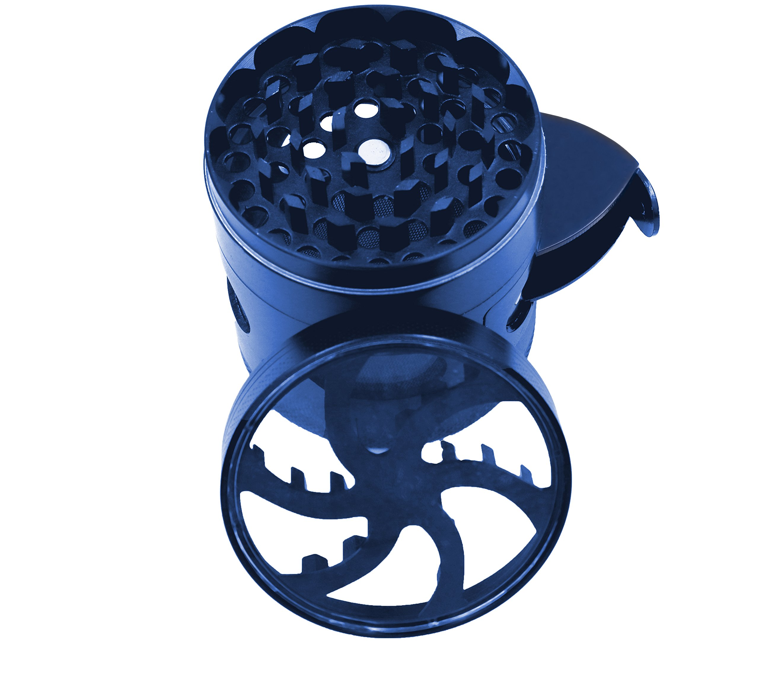 AIMAKE New Design Herb Weed& Spice 4 Piece Large 2.5 Inches Flash Windows Mills Grinder with Pollen Catcher(Blue) by aiMaKE (Image #4)