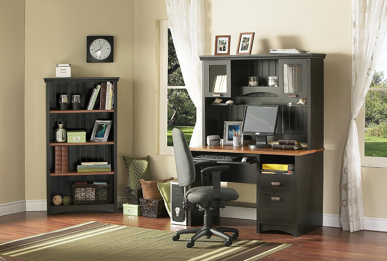 Amazon.com: South Shore Furniture Gascony Collection 4 Shelf Bookcase,  Ebony And Spice Wood: Kitchen U0026 Dining