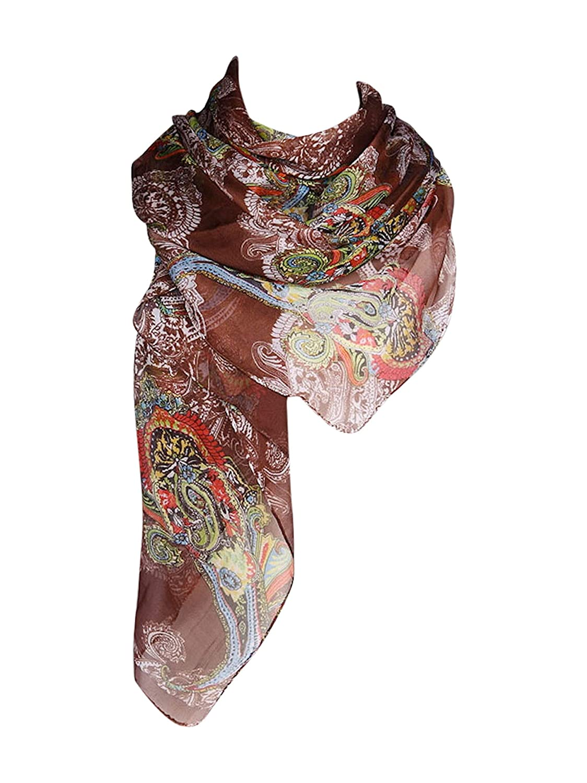 CJ Apparel Beige Multi Color Arhangay Design Voile Pashmina Shawl Seconds NEW