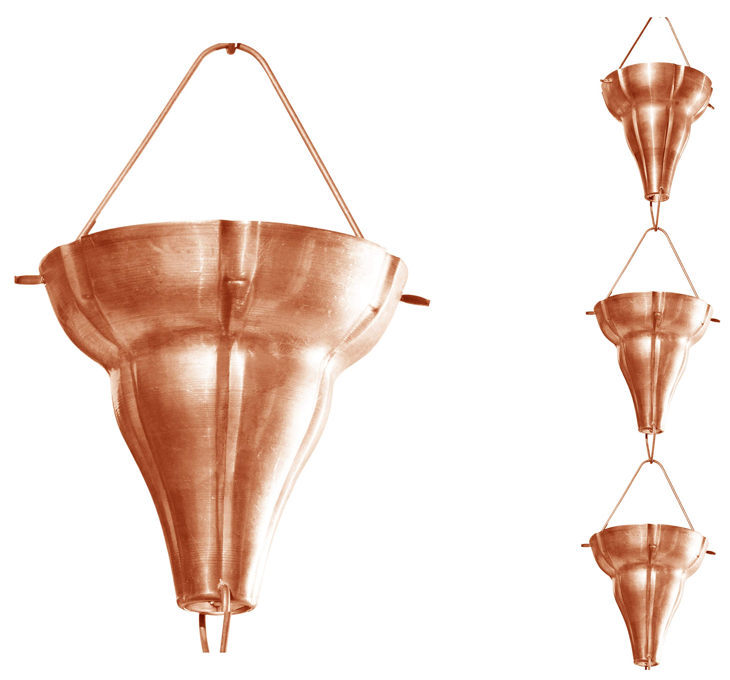 Monarch Pure Copper Florissima Rain Chain, 8-1/2-Feet Length