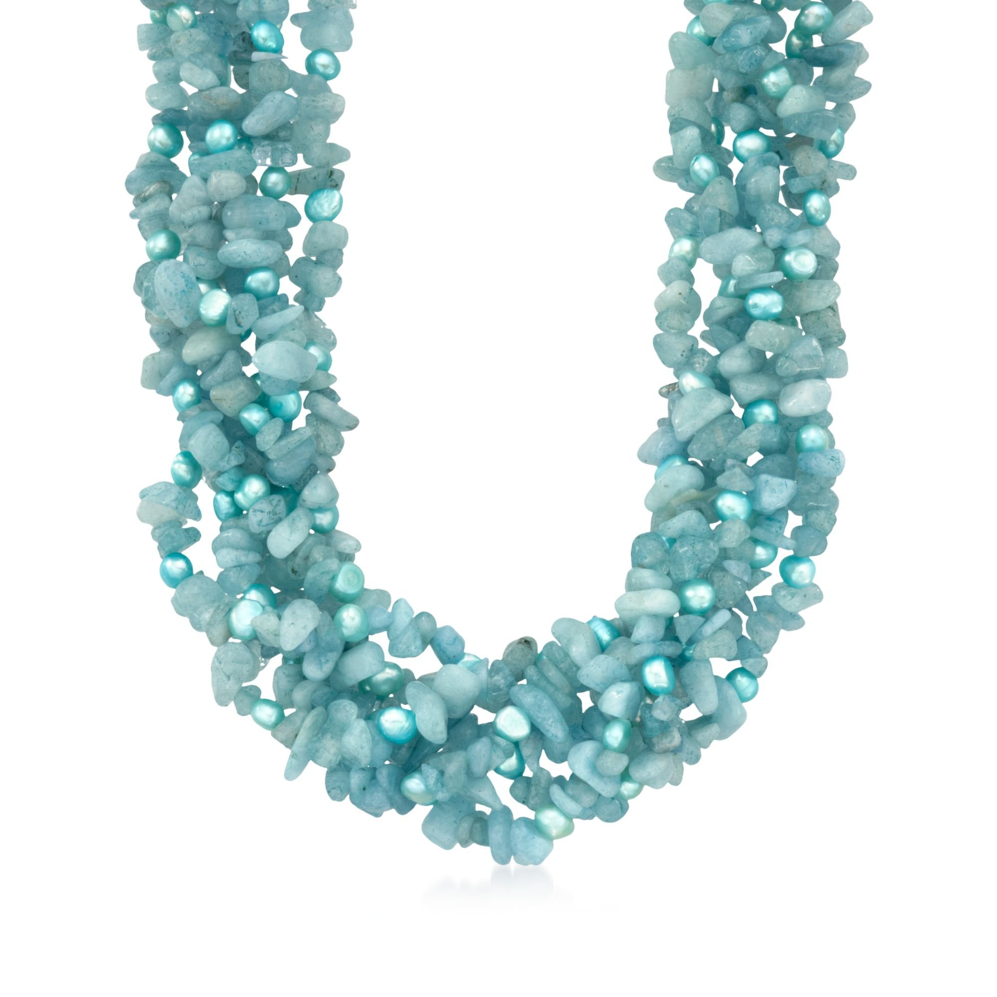 Ross-Simons 5-6mm Blue Cultured Pearl and Milky Aquamarine Torsade Necklace With Sterling Silver by Ross-Simons