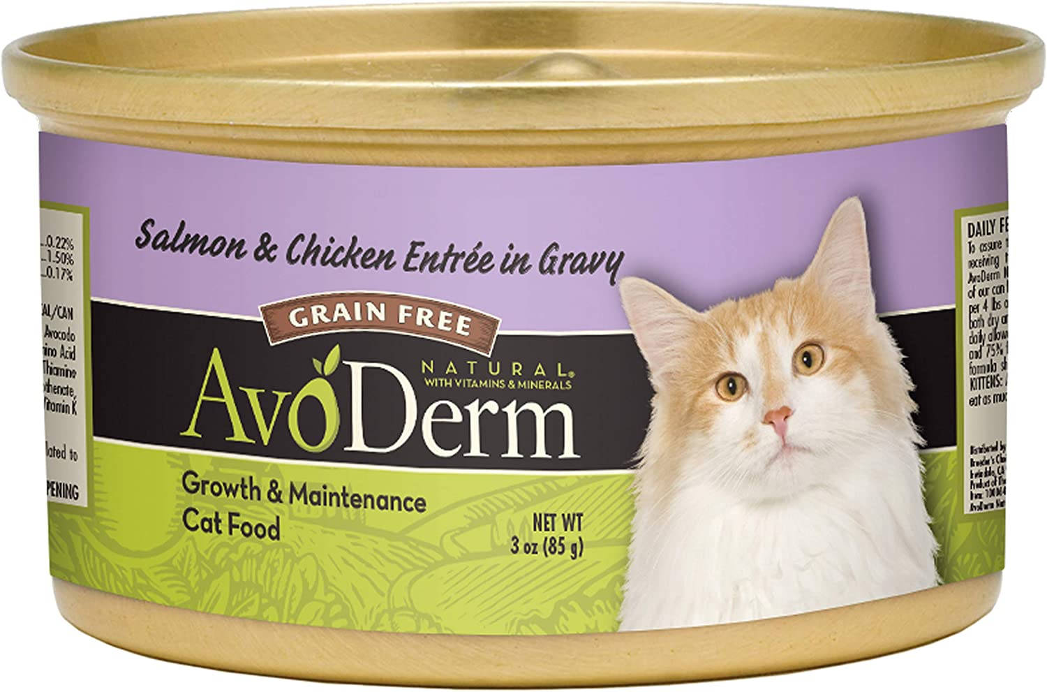 AvoDerm Natural Grain Free Salmon & Chicken Entrée in Gravy Wet Cat Food 3 oz