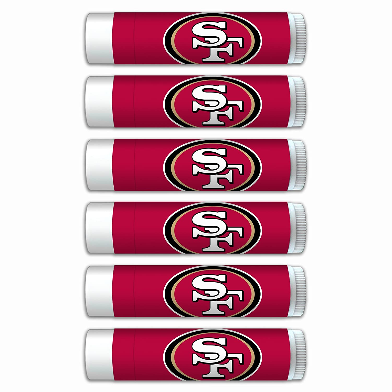 $2.00 OFF San Francisco 49ers Smooth Mint Lip Balm 6-Pack with SPF 15, Beeswax, Coconut Oil, Aloe Vera. NFL Football Gifts for Men and Women, Mother's Day, Fathers Day, Easter, Stocking Stuffers