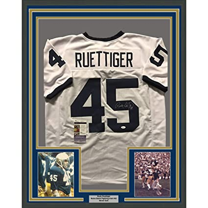 Framed Autographed Signed Rudy Ruettiger 33x42 Notre Dame Fighting Irish  White College Football Jersey JSA d7283bef7