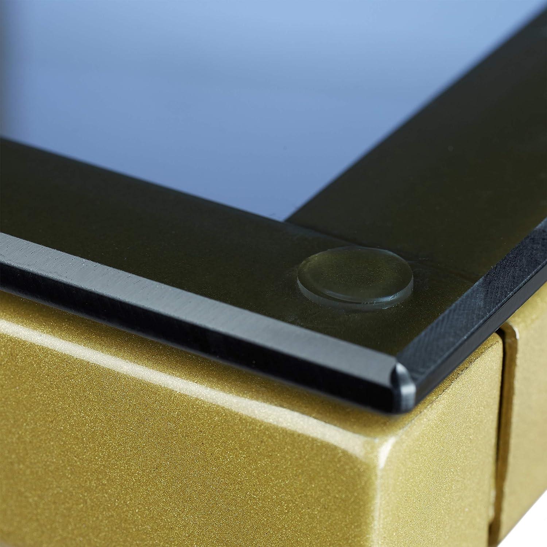 Metallo Gold Disegno Geometrico 5 x 50 x 50 cm Oro Relaxdays Tavolino Antico,54,5x50x50 cm Tavolo da Divano Quadrato con Superficie in Vetro