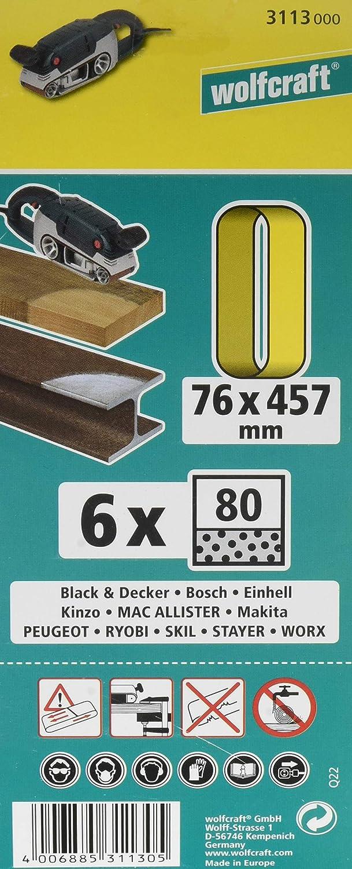 Wolfcraft 623811000 3114000-6 Bandas abrasivas Grano 120 Set de 6 Piezas