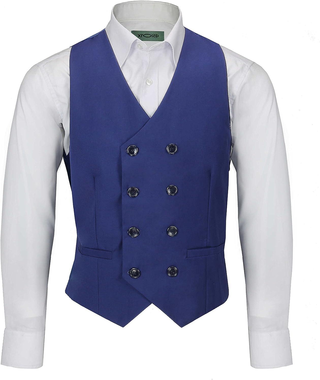 Xposed Herren Weste Retro Vintage doppelreihig formelle taillierte Passform Smart Casual Vest