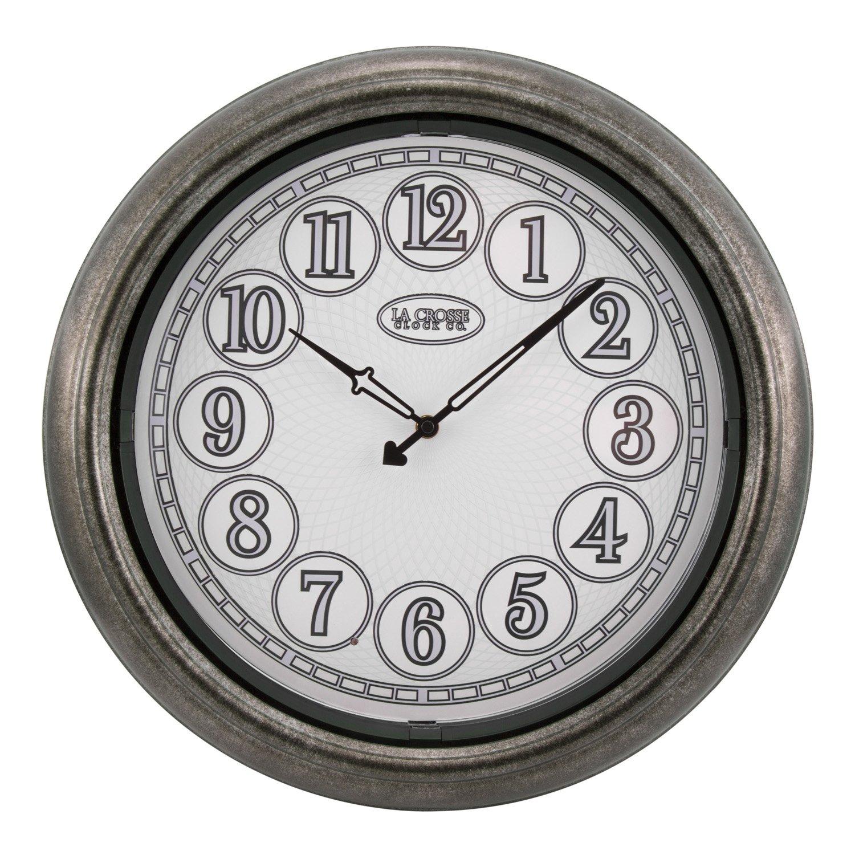 La Crosse Technology 18'' Indoor/Outdoor Lighted Nickel Wall Clock