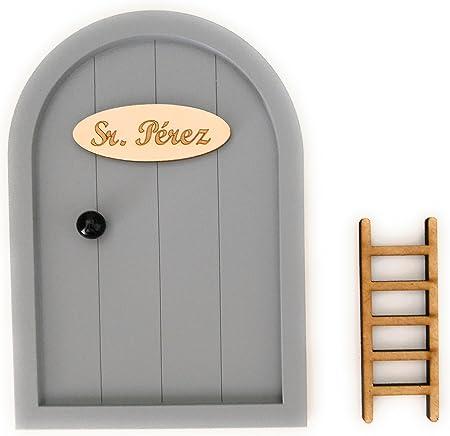 Puerta Ratoncito Pérez de madera varios colores + Escalera + Felpudo + Ratoncito de madera / Decoraciones de pared con adhesivo (Gris): Amazon.es: Hogar