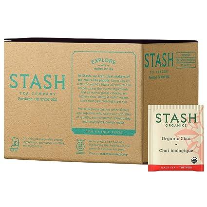Stash Tea Bolsas de té orgánicas negras y verdes en papel de ...
