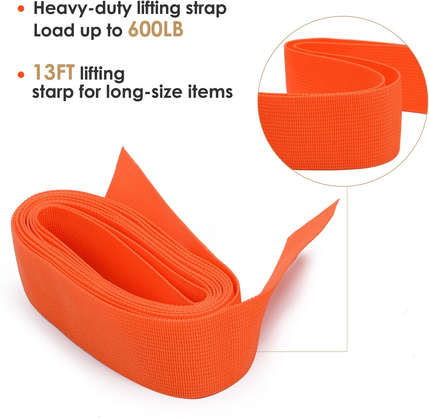 Carry Bag Max Load 600 Pound GOOACC moving straps 13Feet Lifting Straps 2 Person Moving Shoulder Harness Lifter Aid with Foam Pad