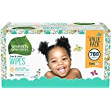 Seventh Generation Baby Wipes, Free & Clear Unscented and Sensitive, Gentle as Water, with Flip Top Dispenser, 768 Count…