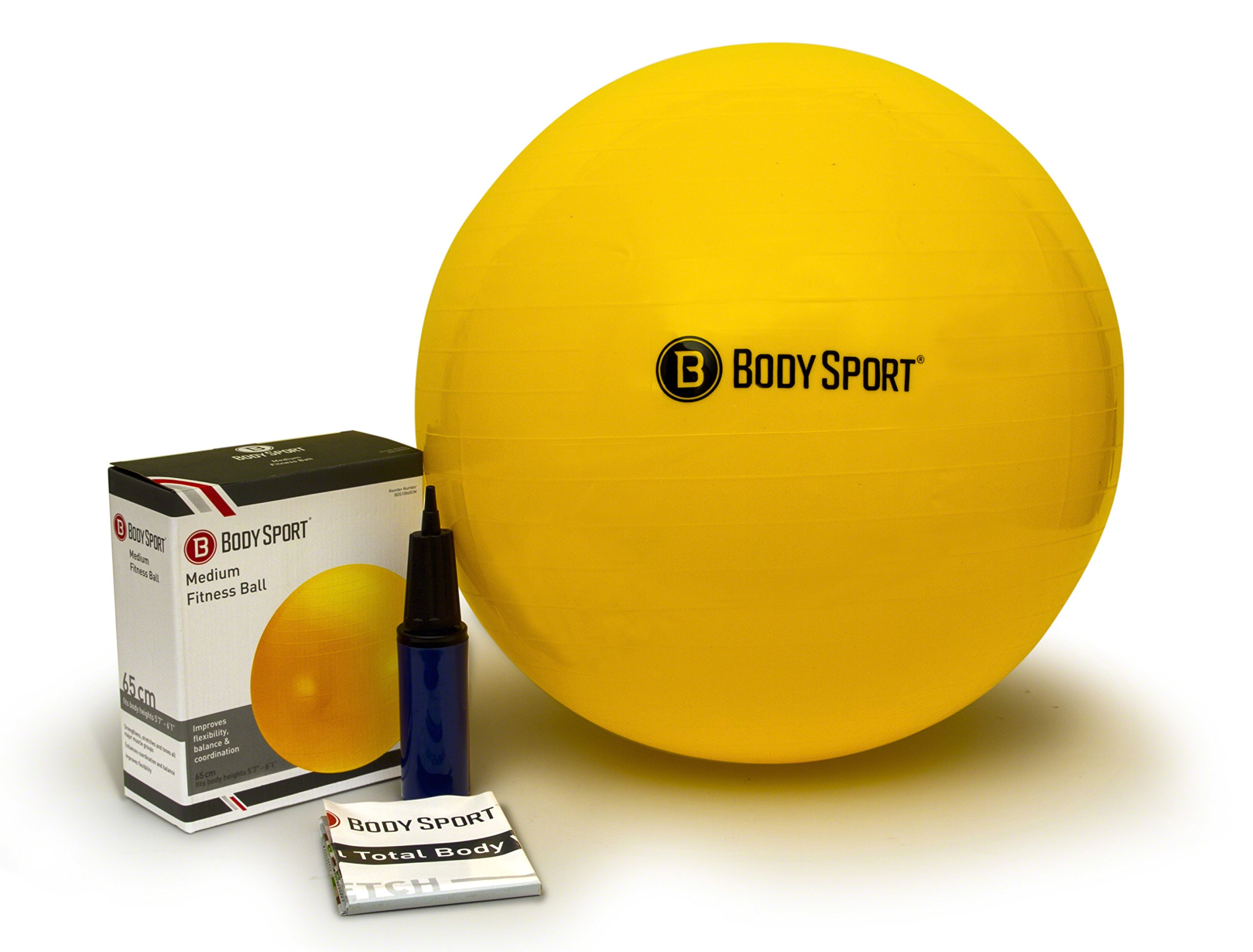 Body Sport Exercise Ball with Pump for Home, Gym, Balance, Stability, Pilates, Core Strength, Stretching, Yoga, Fitness Facilities, Desk Chairs - Yellow 65cm by Body Sport (Image #1)
