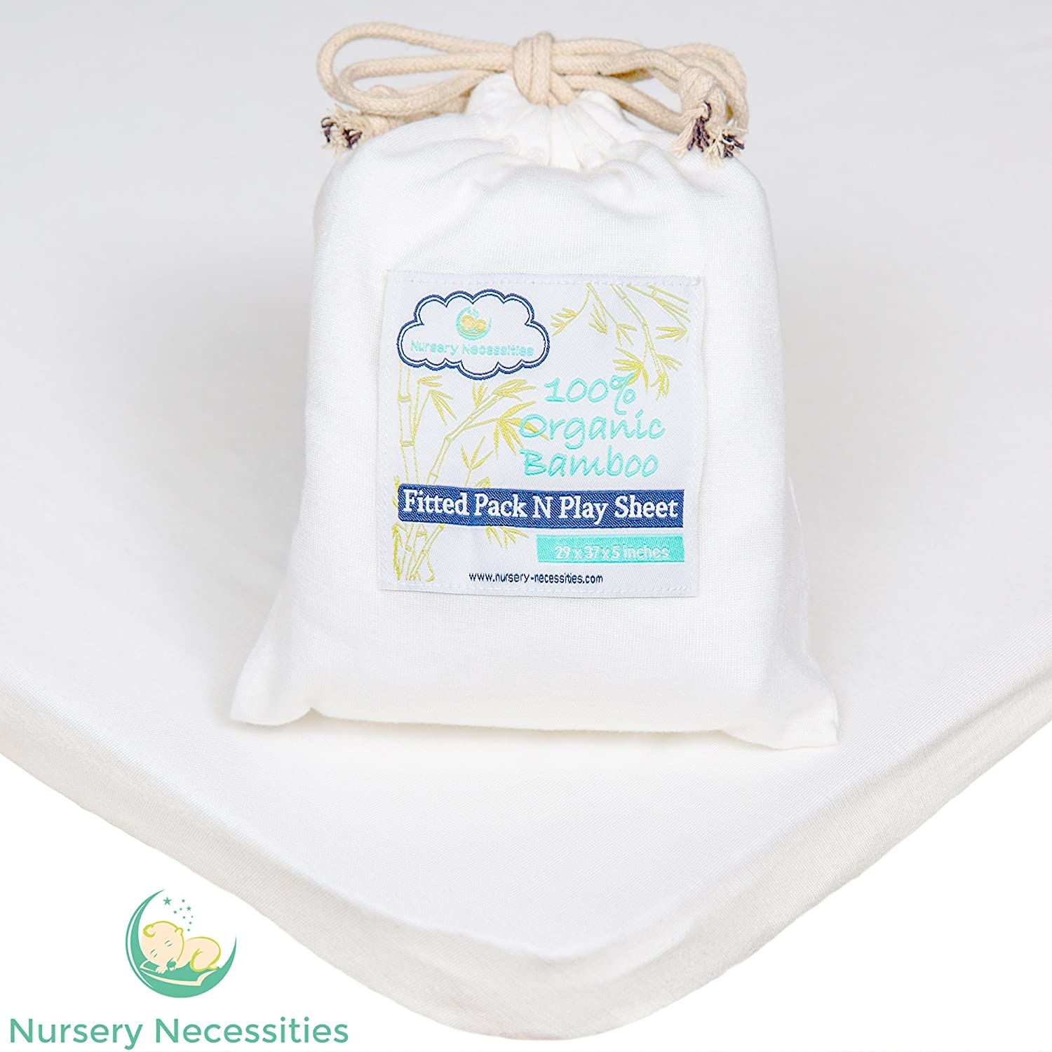 100% Organic Bamboo Pack N Play Sheet - Silky Soft, Antibacterial, Hypoallergenic - Superior to Cotton - by Nursery Necessities 819FI4faOiL