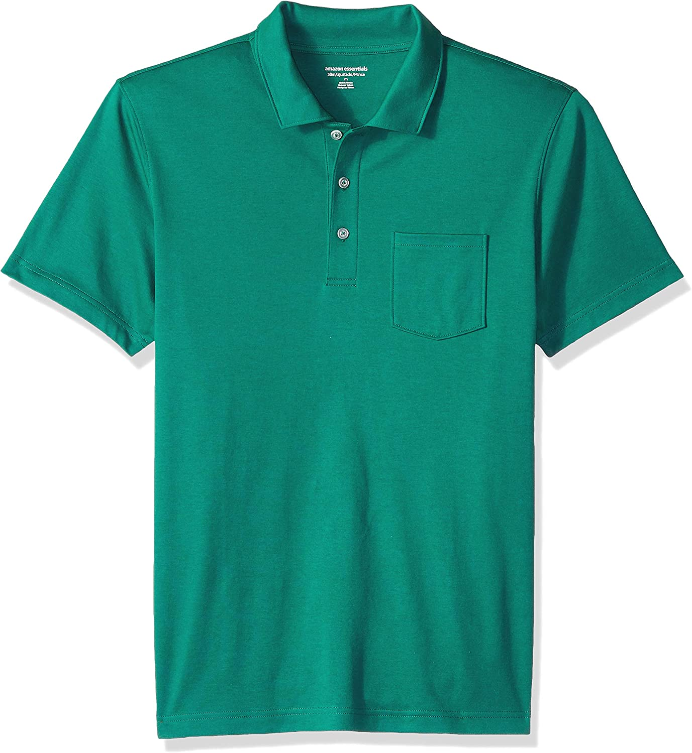 Essentials Men's Slim-Fit Pocket Jersey Polo: Clothing