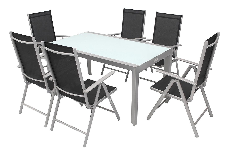 VILLANA Set, silber/schwarz, Alu/Textil, Glastisch 150 x 90cm, 6 ...