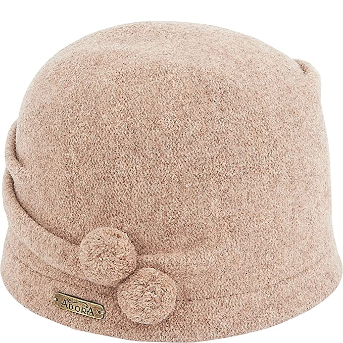 07e51988cdd Adora Hats Pom Pom Soft Wool Cloche (Brown) at Amazon Women s Clothing  store