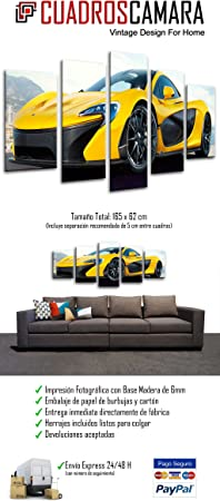 Cuadro Fotográfico Coche Deportivo, McLaren F1 GT, Amarillo Tamaño total: 165 x 62 cm XXL