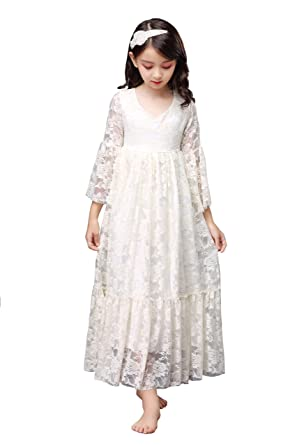 d7ab23c1340 Shop Ginger Wedding Flower Girl Long Trumpet Flare Sleeves Dress Lace Bow  Sash Children First Communion
