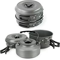 Winterial Camping Cookware and Pot Set, 10 Piece Set for Camping, Backpacking, Hiking, Trekking