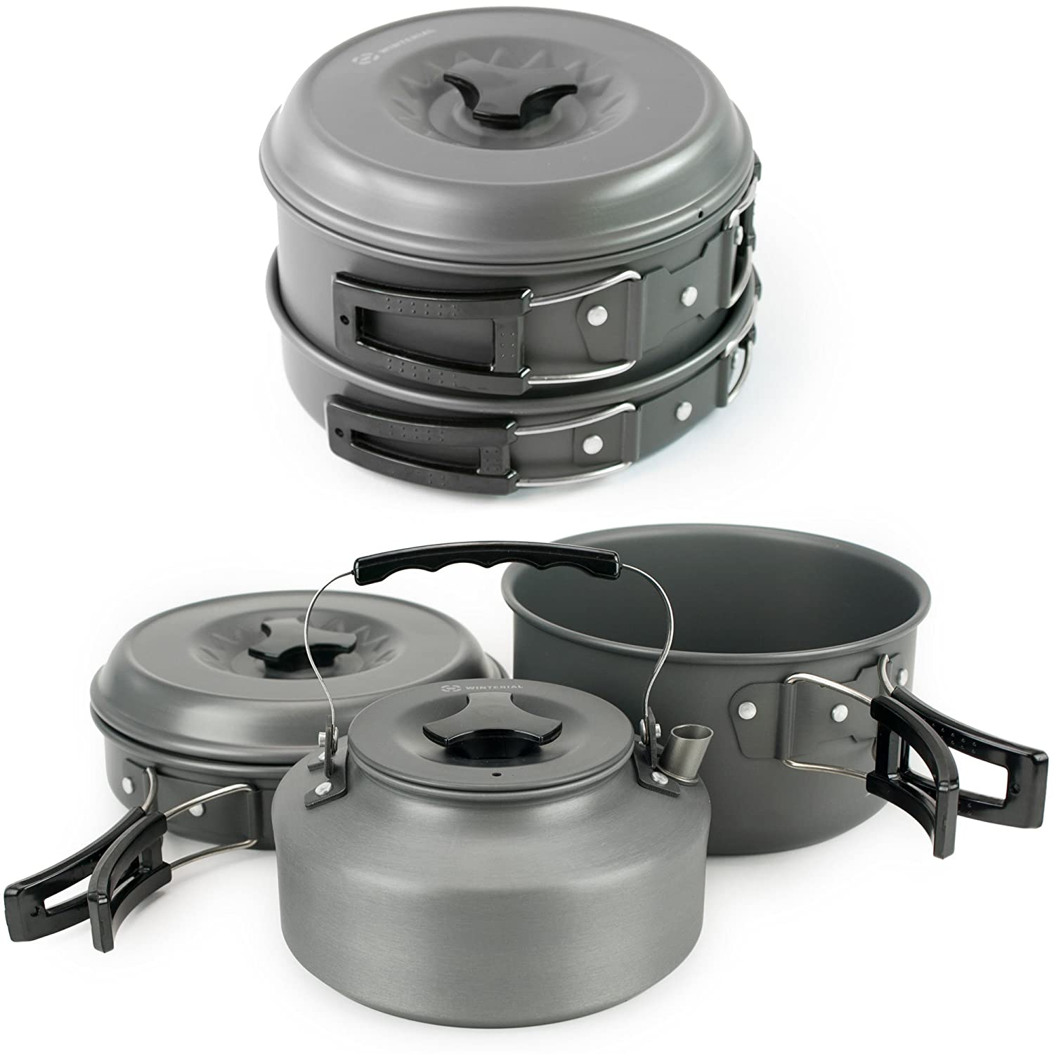 2. Winterial Camping Cookware and Pot Set 10 Piece Set