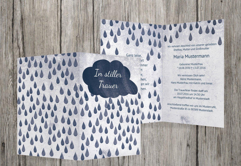 Tarjeta de luto Lluvia, MitternachtsBlau, 60 Karten