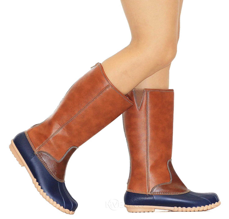 MVE Shoes Women's Two-Tone Insulated High Duck Rain Boots